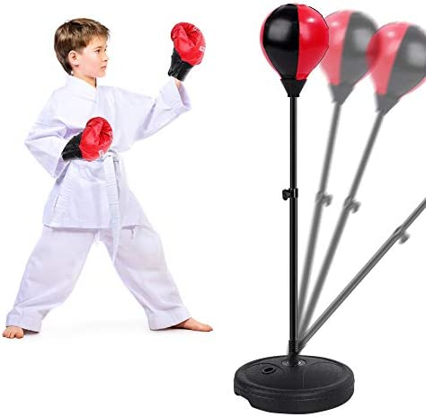 FiGoal Punching Bag for Kids Boxing Set Adjustable Stand with Strong Spring and 1 Pair of Boxing product image