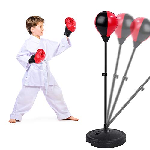 FiGoal Punching Bag for Kids Boxing Set Adjustable Stand with Strong Spring and 1 Pair of Boxing Gloves, Toys Gifts for Age 4 5 6 7 8 Boys Girls Stocking Stuffers