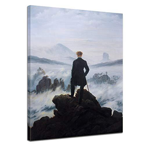 Wandbild Caspar David Friedrich Der Wanderer über dem Nebelmeer - 40x50cm hochkant - Alte Meister Berühmte Gemälde Kunstdruck Bild auf Leinwand