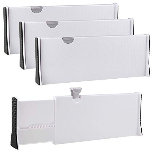 Rapturous 3 Pack Deep Drawer Dividers – 5 Inch High, Expandable from 13-22 Inches, Dresser Drawer Organizers – Adjustable Drawer Organization Separators for Kitchen, Bedroom, Bathroom or Office Drawer