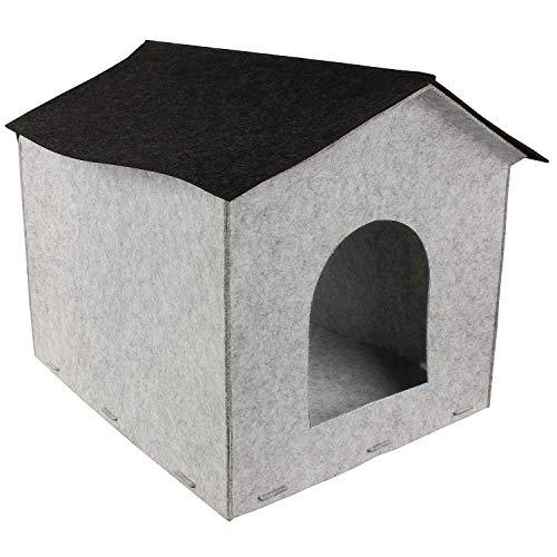 MACOSA CE68147 Filzhaus für Katzen & Hunde 49 x 40 cm Filz Grau Katzenhöhle Hundehaus Katzenhaus Katzenhütte Haustier Zubehör Hundehütte Filzhöhle