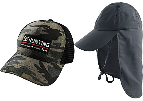 AKASO 2 Pack Sun Caps with Neck Flap Baseball Cap, Quick Dry & Breathable Outdoor Sun Hat, UPF 50+ Fishing Cap for Golf Hunting Backpacking Gardening