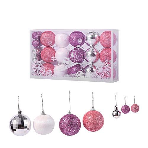 TWBB 27ct Christmas Balls Xmas Balls Big Christmas Ornaments for Christmas Tree Xmas Tree Decorations,2.36' and 1.17' (Purple&Pink)