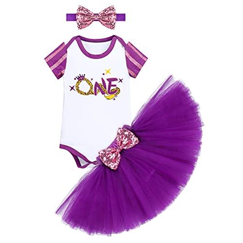 FYMNSI Disfraz de princesa para niña, Blancanieve, Cenicienta, Bella Durmiente, disfraz de Sofía para cumpleaños, conjunto de 3 piezas Purple-One 12 meses
