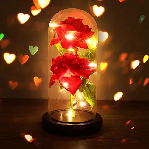 Joyhoop Rosa Bella y Bestia, 2 Flores Rosa Roja, con Elegante Cúpula de Cristal con Base Pino Luces LED, Regalos para Mujer, Decoración Romántica para Familia.(Regalos Perfecto & Decoración)