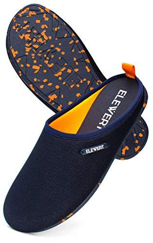 ELEWERT® – Hausschuhe für Herren/Damen - Natural-LITE - Pantoffeln/Slipper – für Sommer und Winter, mit extra Komfortabel, atmungsaktiv, rutschfeste Gummisohle - Marineblau/Orange, EU 45
