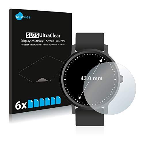 Savvies 6X Schutzfolie kompatibel mit Armbanduhren (Kreisrund, Durchmesser: 43 mm) Displayschutz-Folie Ultra-transparent