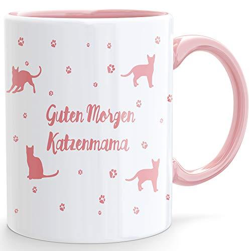 Beschdstoff/ Katzentasse/Guten Morgen Katzenmama/Kaffeetasse oder Teetasse / 1 Stück/Farbe weiß/rosa