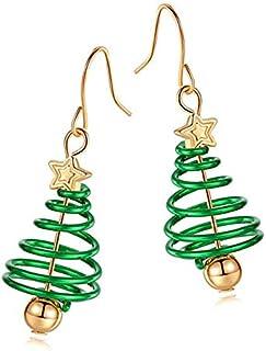 JUCOX Christmas Tree Dangle Hook Earrings, Novelty Drop Earrings, Small Cute Christmas Costume Jewelry for Women Girls