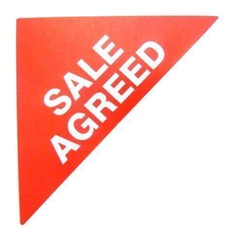 Immobilie Verkäufe Etiketten, Text: Verkauf vereinbart, Rot, groß, dreieckig, Kombi &ordentlich bevollmächtigten Stickers