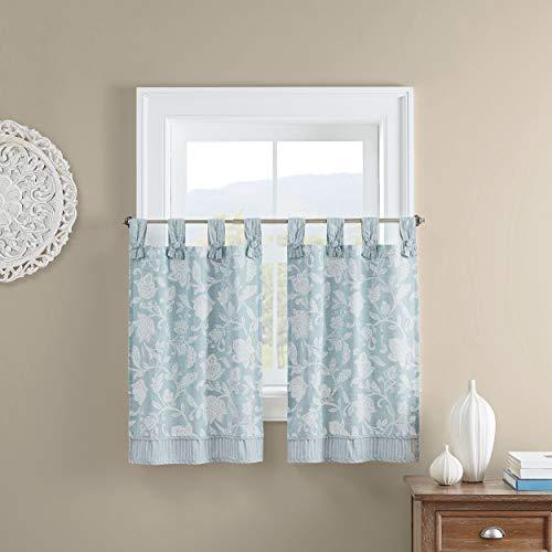 Waverly Stencil Vine Small Panel Tiers Privacy Window Treatment Pair Bathroom, Living Room, 52