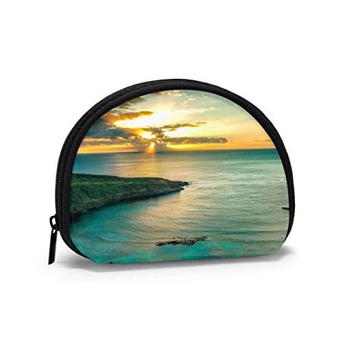 Sonnenaufgang über Hanauma Bay Oahu Haii Geldbörse für Frauen Reißverschluss Kleine Taschen Brieftasche Draht Headset Pack