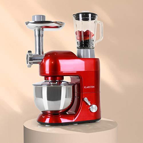 Klarstein Lucia Rossa - Universal Küchenmaschine, Rührmaschine, 1300 W, 5 Liter, planetarisches Rührsystem, Fleischwolf, Mixbecher, 6-stufige Geschwindigkeit, Edelstahlschüssel, rot