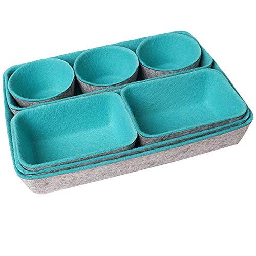 8 Stück Schubladen Organizer Ordnungssystem, Filz Schreibtisch Schublade Aufbewahrungsbox, Fühlte Multifunktion Faltbar Schubladen Organizer für Küche, Büro, Schminktisch Kosmetik, Blau + Grau