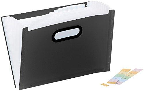 General Office Fächermappe: Kunststoff-Aktenordner mit 13 Fächern, Register & Tragegriff, schwarz (Ordner mit Fächern)