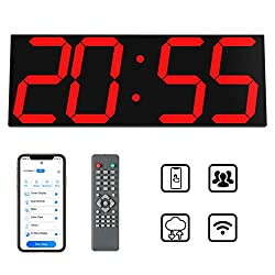 CHKOSDA Smart Digital Led Wall Clock, 6 Numbers and Large Display Countdown Clock, Remote Control/WiFi Control via Internet, Auto Sync Time and Group Control(Red)