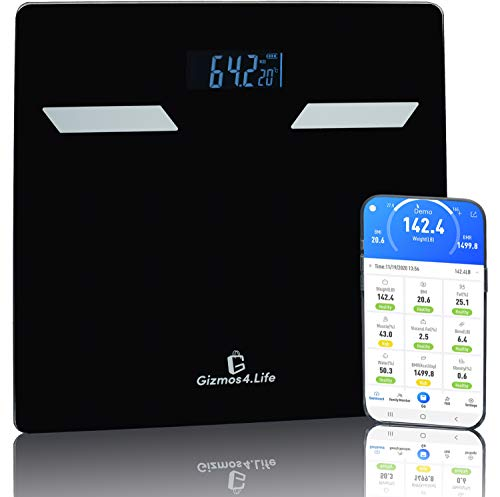 BMI Scale - Smart Scales Digital Weight and Body Fat - Bluetooth Scales w/User Friendly App for Tracking Data from Our Body Fat Scale - Track Your Health Progress with Our Body Analyzer Scale