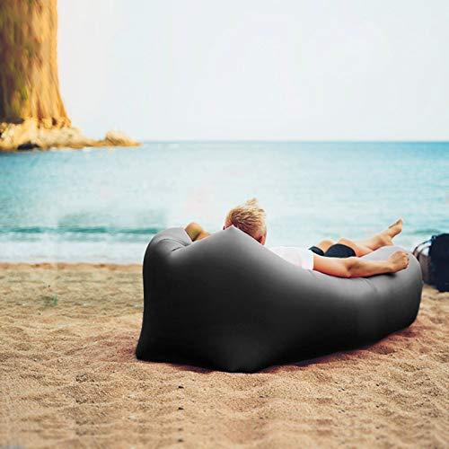 XUE-SHELF Aufblasbare Couch-Cool-aufblasbarer Stuhl Ihrer Camping-Zubehör Easy Setup-Upgrade ist ideal für Wanderausrüstung, Strandkorb und Musikfestivals,Schwarz