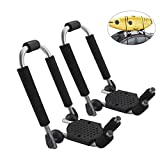FLYCLE J-Bar Foldable Universal Kayak Roof Rack Carrier for Canoe Kayaks Surfboard, Rooftop Mount on SUV Car Truck