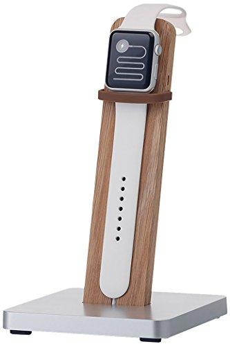 KMP Ladestation Apple Watch – Echtholz-/ Alu Ständer in Eiche - Halterung Tischständer Dockingstation iWatch kompatibel mit Allen Serien