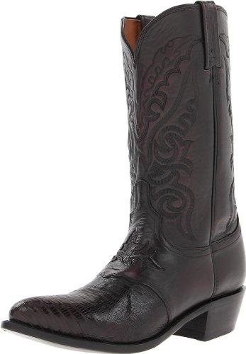 Lucchese Mens M2901.J4 Black Cherry Cowboy, Western Boots Size 8 Black Lizard Cowboy Boots