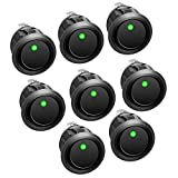 APIELE Rocker Toggle Switch DC 12V 20A ON-Off with Dot Light SPST 3 Pins 2 Position 8Pcs KCD2-102N (Green)