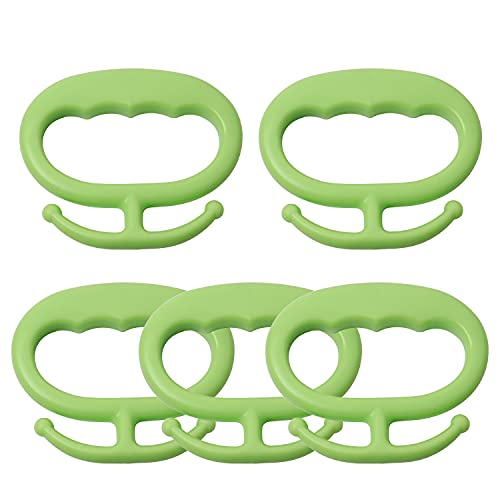 popokk 5 Pack Grocery Bag Holders Plastic Shopping Bag Holder Handle Carrier Tool Bag Handle Holder with Hooks,Holds Up to 80lbs,Green