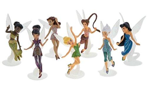 Disney Parks Pixie Hollow Fairies Collectible 7 Piece Figure Set (Tinkerbell, Silvermist, Fawn, Rosetta, Iridessa, Vidia, Periwinkle)
