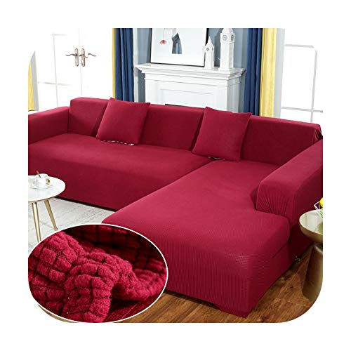 Sofa covers Fabric Elastic Sofa Cover Solid L Shape Plush for Living Room Stretch Slipcover Couch Cover-Color11-1-Seater 90-140Cm