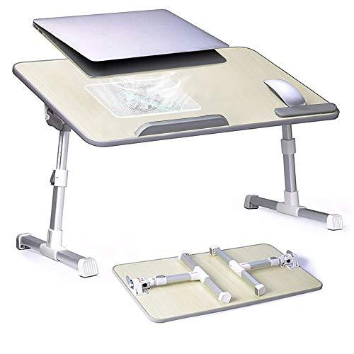 S SMAUTOP Soporte para Portátil con Ventilador de Enfriamiento USB Incorporado Altura y Ángulo Ajustables Mesa Plegable para Laptop de Aleación de Aluminio con Almohadilla para Muñeca para Cama, Sofá