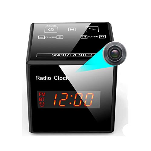 Wireless WiFi Hidden Radio Clock Alarm Bluetooth Spy Camera Nanny Surveillance Cam-BSTCAM HD 960P Home Indoor Security IP Night Vision and Motion Actived Long Standby Cam [SD Card Not Included]