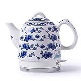 aedouqhr Hervidor eléctrico de cerámica inalámbrico Blanco Tetera-Retro 1l Jarra, 1350w rápido de Agua para té, café, Sopa, Base extraíble de Avena, protección para hervir en seco, A
