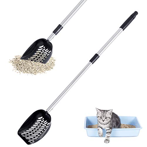 Adjustable Cat Litter Scoop Metal Telescoping Long Handle Deep Sifting Shovel Stainless Steel NonStick Kitty Litter Sifter No Bending Heavy Duty Cat Pooper Scooper for Large Multi Cat Black