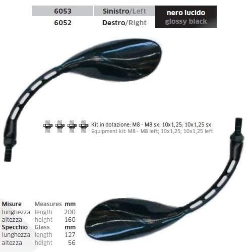 Spiegel voor Suzuki Quad Racer R 450, 1 paar spiegels voor motorfiets, spiegel zwart, glanzend 6052 + 6053 + montagekit bevestiging M.8 10 x 1,25 universele spiegel
