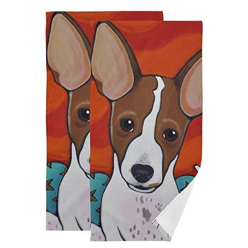 Mnsruu Juego de 2 toallas de mano para cachorros con orejas enormes para baño, invitados, cocina, hotel, spa