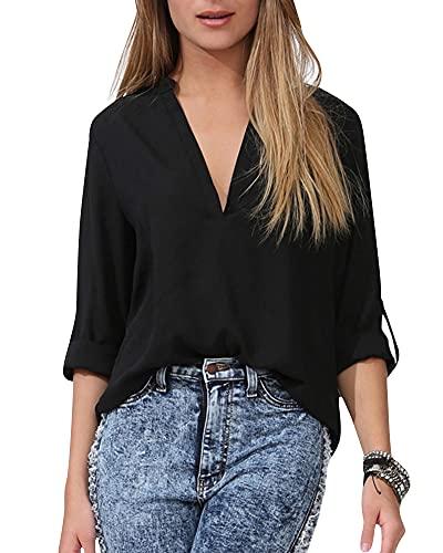 roswear Women's Casual V Neck Cuffed Sleeves Solid Chiffon Blouse Top Black XXL