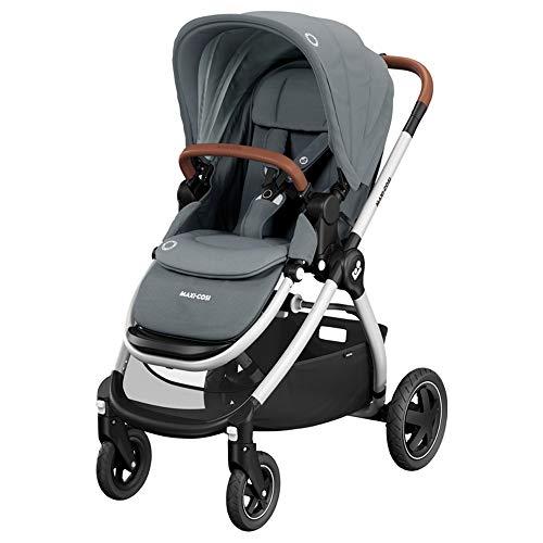 Maxi-Cosi Adorra Kinderwagen, komfortabler, zusammenklappbarer Kombi-Kinderwagen mit Einkaufskorb und mehreren Sitzpositionen, nutzbar ab der Geburt bis ca. 3,5 Jahre (0-15 kg), essential grey