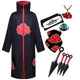 YEAJION Conjunto de disfraces de Naruto Akatsuki accesorios de ropa para fiesta de Navidad y Halloween carnaval cumpleaños chico adulto Unisex XXL