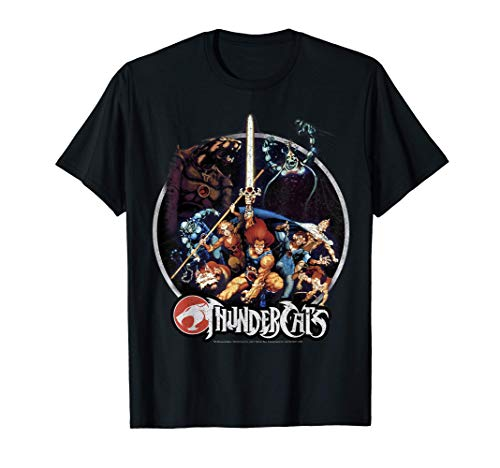 Licensed Adults ThunderCats Group Shot Vintage Circle T-Shirt, Sizes for Men and Women S to 3XL