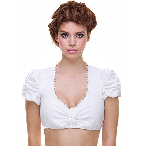 Almbock Dirndlbluse Baumwolle - Dirndlbluse weiß aus 100% feiner Baumwolle - Dirndlbluse Damen 40 - Modell Linn B100