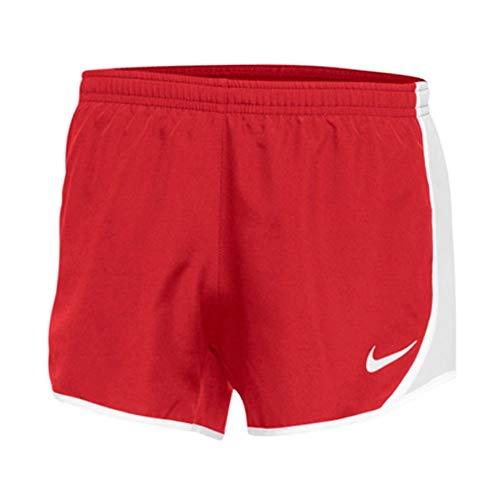 Nike Girls Dry Tempo Running Shorts (Small, Red/White)