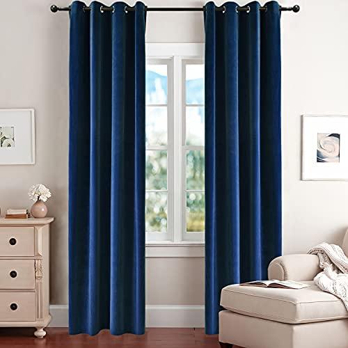 BDRS HOME Velvet Curtains 84 Inches Blackout