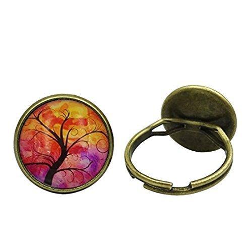 lamnxjuf Life Tree Anillo de cristal de cabujón para hombre, estilo vintage, de bronce, para mujer, joyería fina