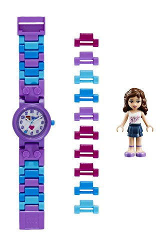 LEGO Friends 8020165 Olivia Kinder-Armbanduhr mit Minifigur und Gliederarmband zum Zusammenbauen , violett/weiß, Kunststoff , Gehäusedurchmesser 25 mm , analoge Quarzuhr , Junge/ Mädchen , offiziell