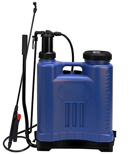 Flesser Backpack Sprayer 5 Gal Pump Manual Knapsack Sprayer for Garden Home Cleaning Situation with Four Nozzles, Lock Down Feature