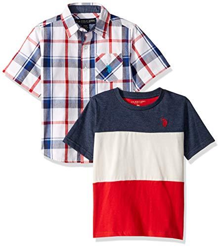 U.S. Polo Assn. Boys' Little Short Sleeve Woven T-Shirt Set, Red Multi Plaid, 4