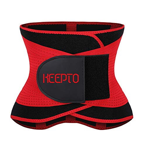KEEPTO Women Waist Trainer Neoprene One Strap Sweat Workout Body Shaper Waist Trimmer Corset Men Short Torso Waist Cincher Belt Belly Slimming Hourglass Red S