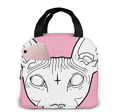 L6shop Bolsa de almuerzo aislada portátil Sphynx Cat Portable insulated lunch bag Big Capacity Lunch Cooler Tote Bag for for Work School Travel Lunch Box with Front Pocket