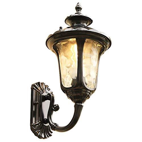 BJClight Lámpara de pared para interiores, lámpara de pared tradicional impermeable para exteriores, soporte de aluminio Victoria con pantalla de vidrio martillado, aplique de montaje en pared V