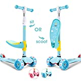 SUPER DADY 3 Wheel Scooter for Kids Toddlers with seat Foldable Kick Scooter for Girls&Boys Children Baby Age 2-10 (Azure)